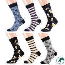 Heren sokken zonder naadjes op de teen Bier 6 paar.