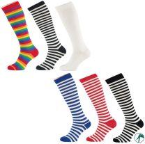 gestreepte kniekousen en lange sokken