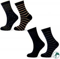 kinder sokken zwart goud of zwart zilver per 2 paar 39-42.
