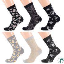 Kinder sokken zonder naadjes Bee Flower per 3 paar.
